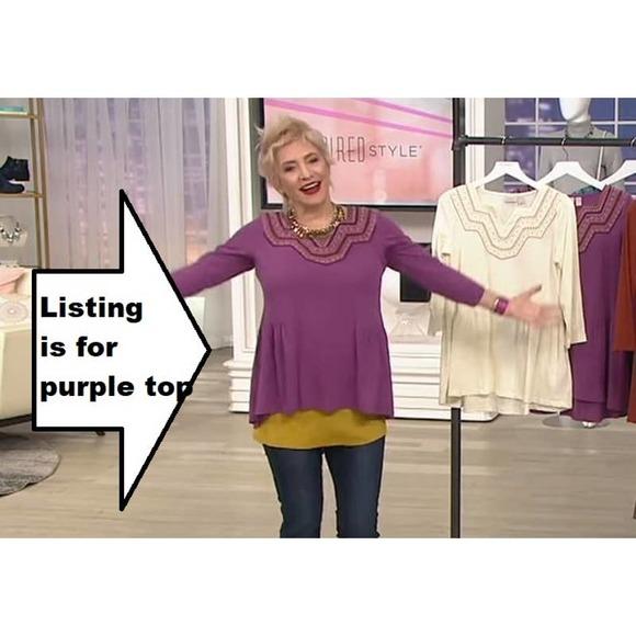 Logo Lori Goldstein SWING TOP Slub Knit Embroidery